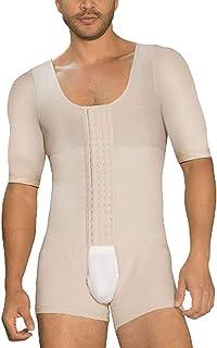 DANALA Men Full Body Shaper Tummy Control Shapewear Slimming Bodysuit Short Sleeve with Hooks Beige XXL