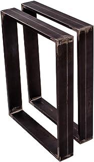 sossai® Design XXL Pied de Table en Profilés d'Acier TKK3 | 2 pièces | couleur acier brut | Largeur 70 cm x hauteur 72 cm...
