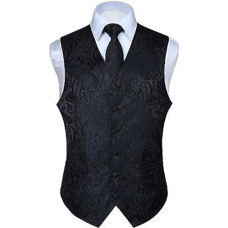 HISDERN Men's Paisley Waistcoat Floral Jacquard Necktie Pocket Square Handkerchief Wedding Party Business Fit Vest Suit Set XS-6XL