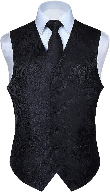 HISDERN Men's Vest Tie Set Paisley Floral Jacquard Necktie Pocket Square Classic Waistcoat Wedding Party Suit or Tuxedo