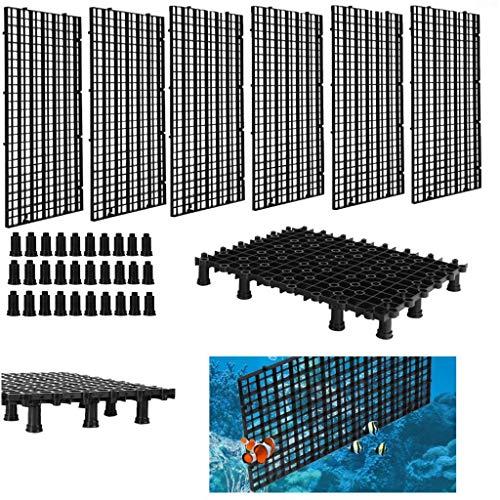 Peerless Aquarium-Trennwand mit 30 Stützfüßen, Trenngitter für Aquarien, 6 Stück, Schwarz