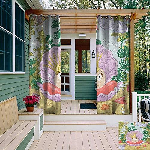 leinuoyi Pearls, Outdoor Curtain Panels Set of 2, Cute Princess Pearl in Clam with Crown Tiara Reef Cartoon Print Baby Girl Nursery Print, for Gazebo W96 x L96 Inch Multi