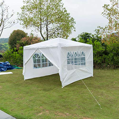 JAOSY Outdoor Event Shelter Party Tent Commercial Gazebo, Heavy Duty, Fully Waterproof, With 4x Side Panels 3 with Windows 1 Door with Zip Sun Protection (White, 3m x 3m)