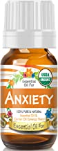 Essential Oil for Anxiety (USDA Organic - 100% Pure) Unique Blend of Essential Oils Recomended by Aromatherapists for Aromatherapy - 10ml