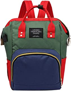 MKchung Women Mummy USB Backpack Large Capacity Baby Nursing Handbags (Green Blue)