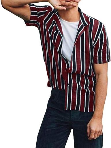 Camisa para Hombre - Camisa de Rayas Manga Corta La Solapa ...