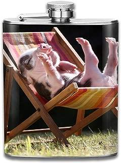Steel Stainless Flask,Cute Pig Sunbathing Pocket Funnel,Screwed Top Liquor Alcohol Whiskey Spirits Hip for Men,7 OZ