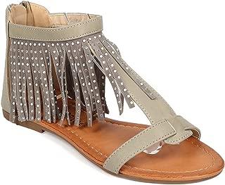 Women Leatherette Open Toe Fringe Rhinestone Gladiator Sandal EG23 - Sand