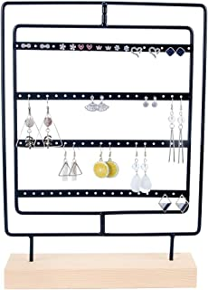 DesignSter Rotating Metal Earring Organizer - Wooden Jewelry Display Stand Holder/ 76 Holes for Hanging Dangle Earrings/Classic Jewelry Showcase Tower