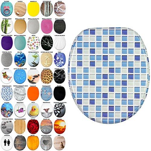 Asiento de inodoro, gran selección de atractivos asientos de inodoro con calidad superior y duradera de madera (Mosaico azul)