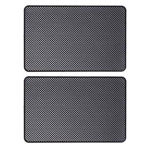 UKCOCO 2 PCS Pad antidérapant de Voiture, Support de Tableau de Bord de Voiture antidérapant Tapis Anti-Glisse Organisateur pour téléphone (Noir)