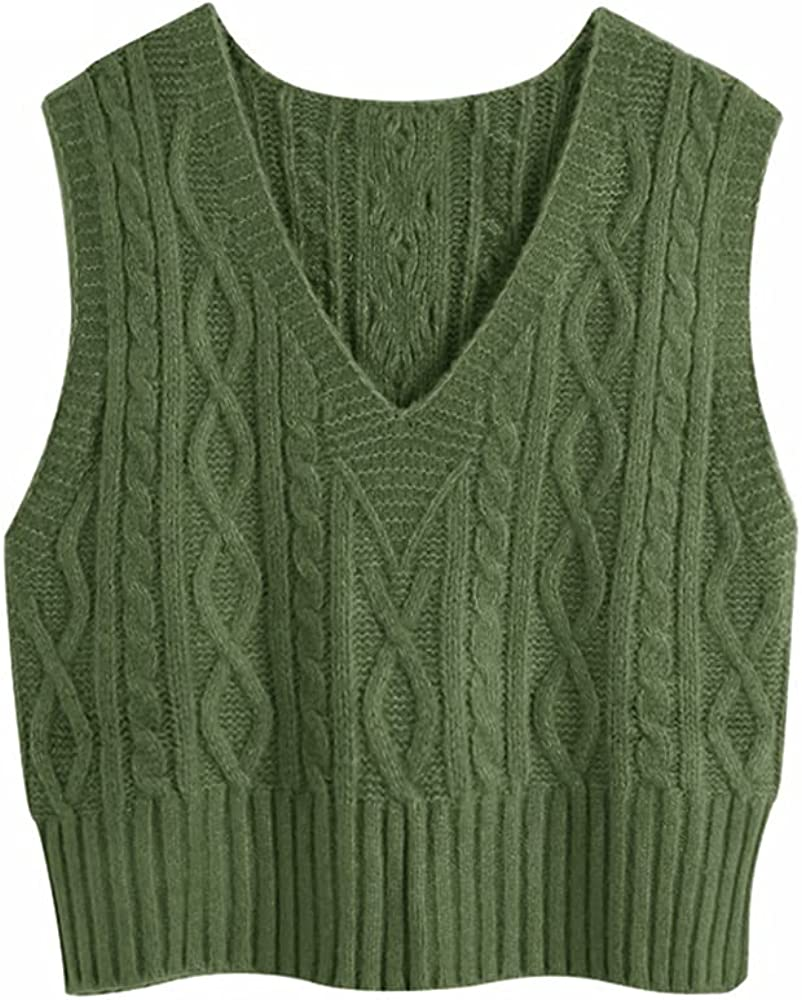 ZIWOCH Women's V-Neck Pullover Cable Knit Vest Solid Color Sleeveless Loose Fit Sweater Top