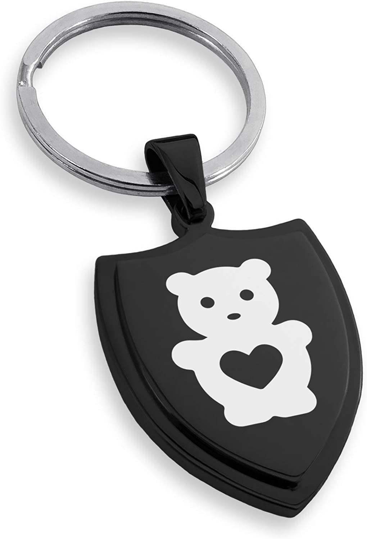 Stainless Steel Teddy Bear Love Shield Keychain Keyring