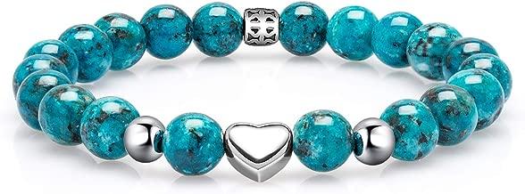 Eletout Handmade 8mm Semi Precious Gemstone Stretch Beads Bracelet with Metal Ornament for Lady Girl