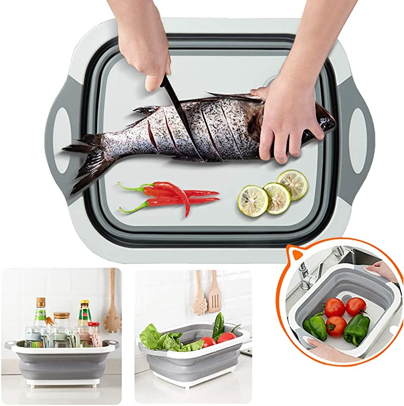 Sunlightam Collapsible Cutting Board With Dish Tub Basket With Draining Plug Collapsible Colander And Dish Sink Tub Storage Basket 3 In 1 Multifunction Kitchen Kit Grey White