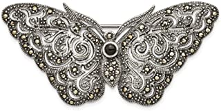 Sterling Silver Antiqued Marcasite Butterfly Brooches Pin