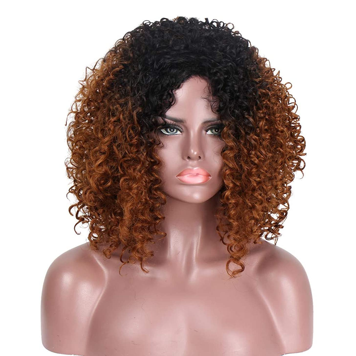 NOGOQU Natural Ombre Black to Brown Shoulder Length Deep Curly Fluffy Kinky Wig Rose Net Heat Resistant Synthetic Soft Durable for Women for 2019 17 Inch nt.wt. 280g