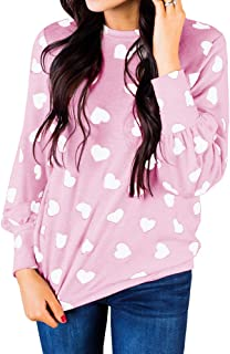 Ivay Womens Heart Printed Long Sleeve Tops Tee Shirts
