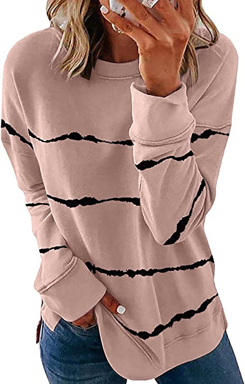 SZITOP Women's Autumn Winter Casual Contrast Color Fashion Plus Size Crewneck Long Sleeve Tops Pullover Sweatshirt Sweater