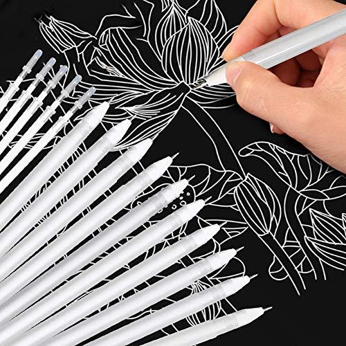 Bolígrafo de Gel Blanco, Juego de 10 Boligrafo de Gel Blanco y 5 Recambios de Bolígrafo, Bolígrafos de Gel Blanco de Punta Fina de 0,8 mm para Papel Negro Resalte Dibujo Bocetos
