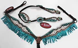 PRORIDER Horse Tack Bridle Western Leather Headstall Breast Collar Turquoise Rodeo 80213A