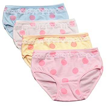 Amazon.com: 2-8 Years Old Girls Polka Dot Panties Lace Trim Girly Briefs  Underwear,4 Pack: Baby