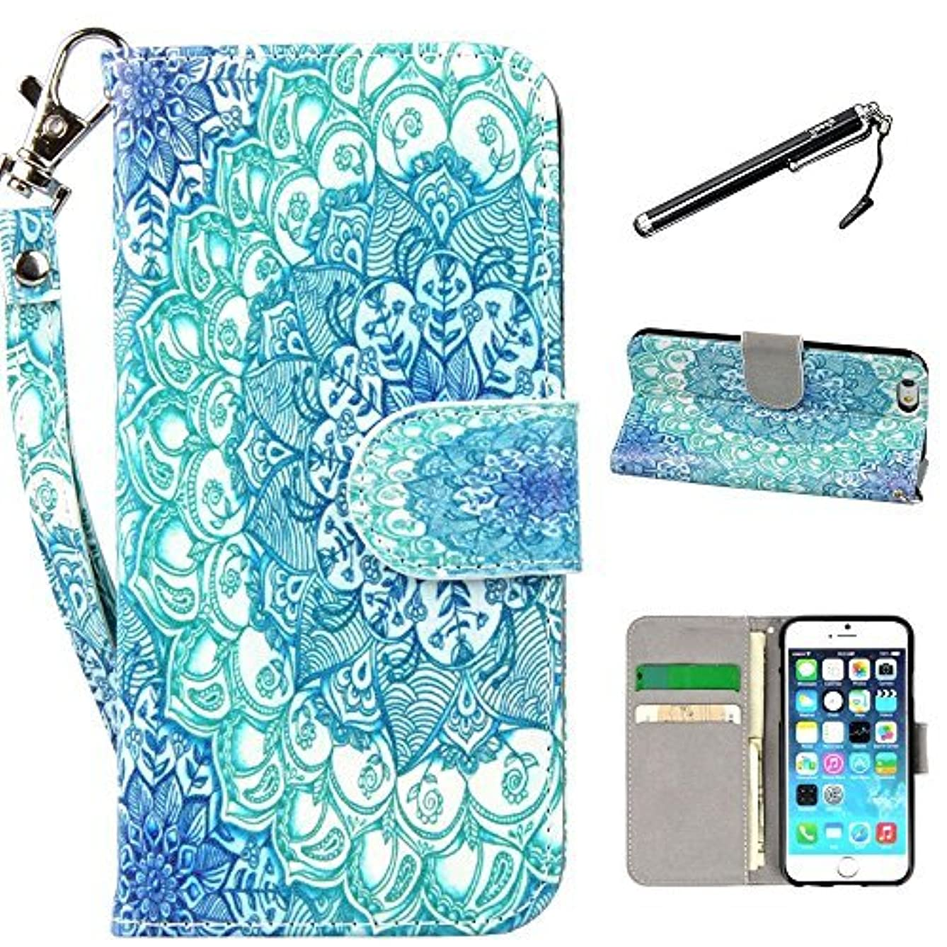 iPhone 6s Case, iPhone 6 Case, UrSpeedtekLive Premium PU Leather Funny Pattern Flip Wallet Case Cover with Card Slots & Stand for iPhone 6/6s 4.7 Inch - Mandala Floral