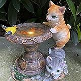Lumière Solaire Chat Décoration Jardin Statue Animaux en Résine à Énergie Solaire Garden Figure Extérieur Sculpture d'animaux de jardin - Figurines de chat Statue de décoration de veilleuse solaire