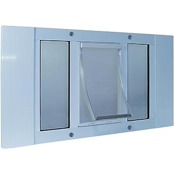 """Ideal Pet Products 27"""" - 32"""" Wide Window Aluminum Sash Window Pet Door W 5"""" X 7"""" Flap"""