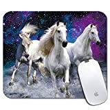 iNeworld Personalized Rectangle Mouse Pad, Printed Cute Three Running Horse Pattern, Non-Slip Rubber Comfortable Customized Computer Mouse Pad (9.45x7.87inch)