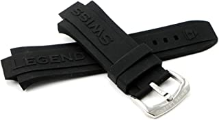 30MM Black Silicone Rubber Watch Strap w/Silver Stainless Buckle fits 46mm Throttle Watch