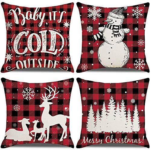 Cubiertas de Almohadas de Navidad Cubiertas de Almohadas de 18x18 Pulgadas Conjunto de 4 Decoraciones navideñas de Navidad. ZDWN