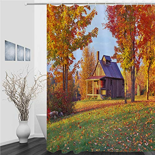 MinGz Autumn Shower Curtain,Country Side Vermont Autumn,Bathroom Waterproof Polyester Shower Curtain for Bathtub Showers