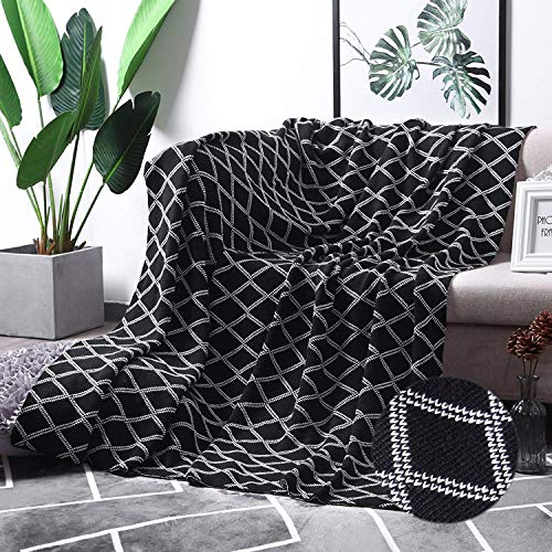 """MoMA 100% Cotton Black Cable Knit Throw Blanket for Couch Bed Sofa Chair, Black White Stripe Reversible Decorative Knitted Blankets,51""""x 63"""" Size"""
