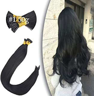 VeSunny I Tip Hair Extensions Human Hair Black/Jet Black 16inch Per Pack 100% Remy Hair Extensions Pre Bonded Keratin Tip Hair Extensions Human Hair 50G/Pack