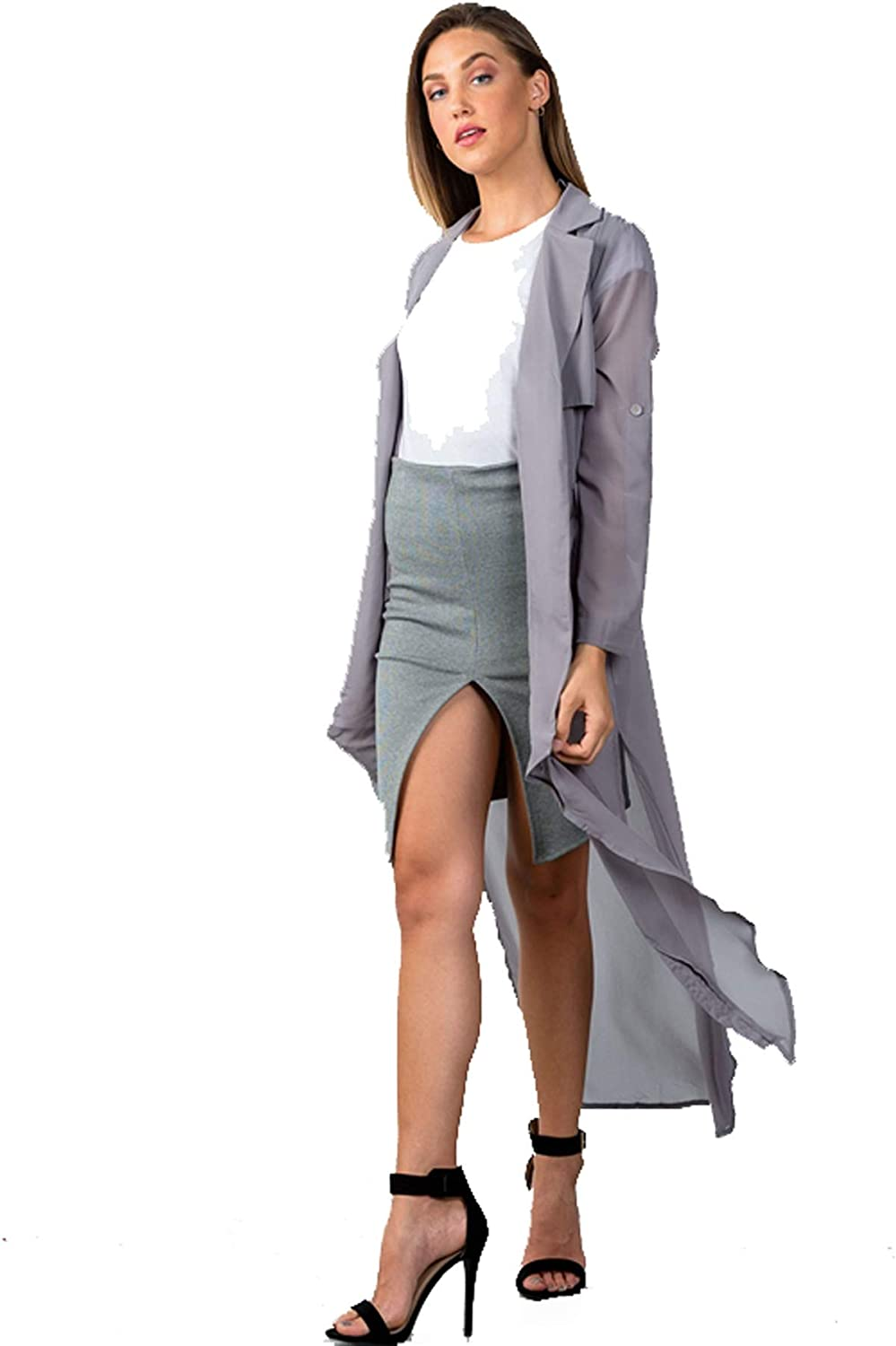BVille Boutique Grey Longline HIGHSlit Sheer Cardigan