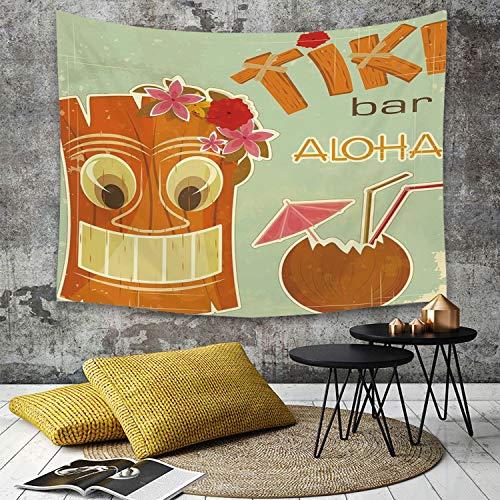 Tapestry, Wall Hanging, Tiki Bar Dekor, Einladung zur Tiki Bar Old Fashion Display Kokosnuss Drink Maske Blumen,wall hanging wall decor, Bed Sheet, Comforter Picnic Beach Sheet home décor 180 x 230 cm
