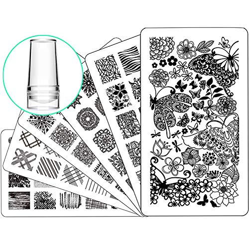 Nail Stamping Plate Nail Stamper - Ejiubas Nail Stamping Kit Nail Art...