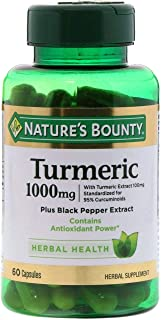 Nature`s Bounty Turmeric Pills and Herbal Health Supplement, Supports Joint Pain Relief and Antioxidant Health, 1000mg, 60 Capsules