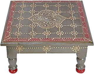 Lalhaveli Indian Designer Hand Painted Wooden End Table for Indoor Outdoor Office Wedding Event Party Supplies 11 x 11 x 5.5 Inch