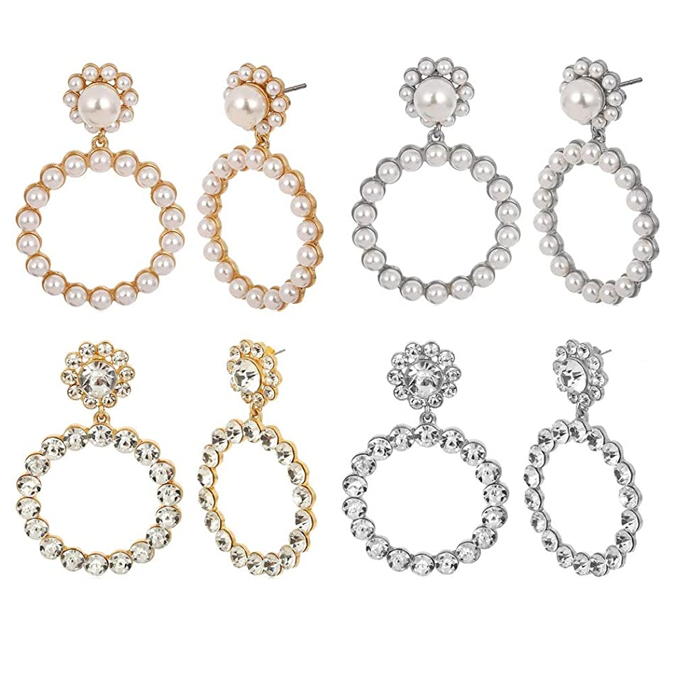 Women Earrings, Women Exaggerated Geometric Flower-Shaped Hollow Simple Geometric Diamond-Studded Earrings