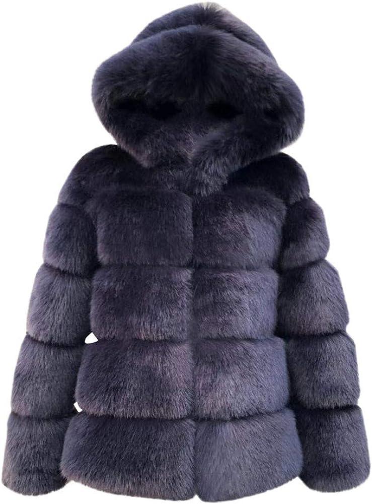 VEZAD Women Mink Coats Winter Hooded Faux Fur Jacket Warm Thick Jacket