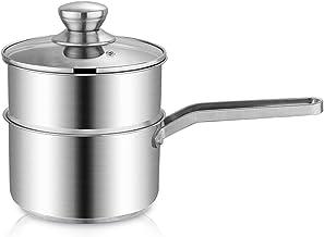 Soeppot, Roestvrijstalen Stoomboot Pot Voedsel Stoomboot Melk Pan Koken Pot En Stomende Pan Met Glazen Deksel, Inductie Ko...