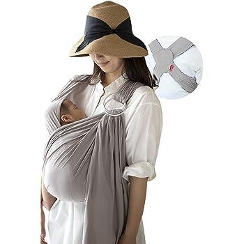 (ケラッタ)x-sling 抱っこ紐 ベビースリング 新生児 横抱き可 かぶって引っ張る簡単装着 リングでサイズ調整 (グレー)