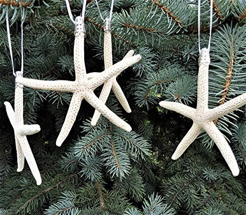 Coastal Nautical Starfish Christmas Ornaments - SET OF 4 Beach White Starfish Holiday Ornaments, 3-4'