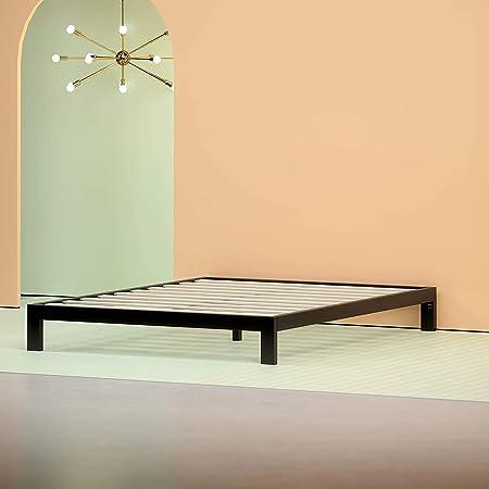 Zinus Cadre de lit en métal Modern Studio 25,4 cm Plate-forme 2000 / Support de matelas/ Pas besoin de sommier/ Soutien solide avec lattes en bois/ Montage facile/ 90 x 190 cm