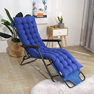 Thicken Lounge Rocking Chair Cushion,Patio Chair Sun Lounger Cushion Portable Garden Patio Chair Pad Mat Bed Recliner Relax Seat Cushion Mattress Blue 48x120cm(19x47inch)