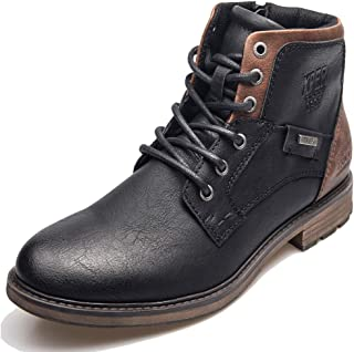 XPER Men's Brown/Black Fashion Footwear Lace up Motorcycle Waterproof Boots for Men Combat Winter Ankle Boots Causal Men Shoes 7-15