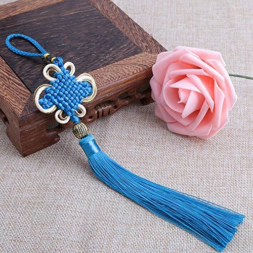 ZYHYCH 5/10/20Pcs Chinese Knot Tassel Silk Fringe Pendant,Crafts Bangs Tassel Trim Home Decoration Chinese Characteristics Gift Ornaments,Sky Blue,20pcs