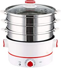 DIAOD Electric Steamer 3-layer High Capacity Multi-function Steam Cooker Food Steamer Pot (Color : Red)